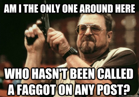 Am I the only one around here who hasn't been called a faggot on any post? - Am I the only one around here who hasn't been called a faggot on any post?  Am I the only one
