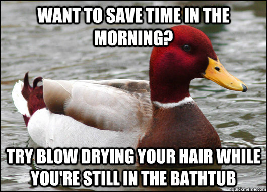 want to save time in the morning? try blow drying your hair while you're still in the bathtub - want to save time in the morning? try blow drying your hair while you're still in the bathtub  Malicious Advice Mallard