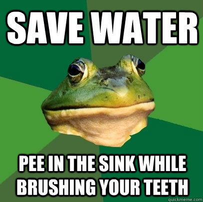 SAVE WATER PEE IN THE SINK WHILE BRUSHING YOUR TEETH - SAVE WATER PEE IN THE SINK WHILE BRUSHING YOUR TEETH  Foul Bachelor Frog