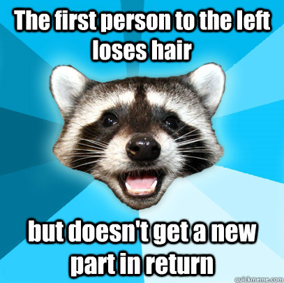 The first person to the left loses hair but doesn't get a new part in return - The first person to the left loses hair but doesn't get a new part in return  Lame Pun Coon