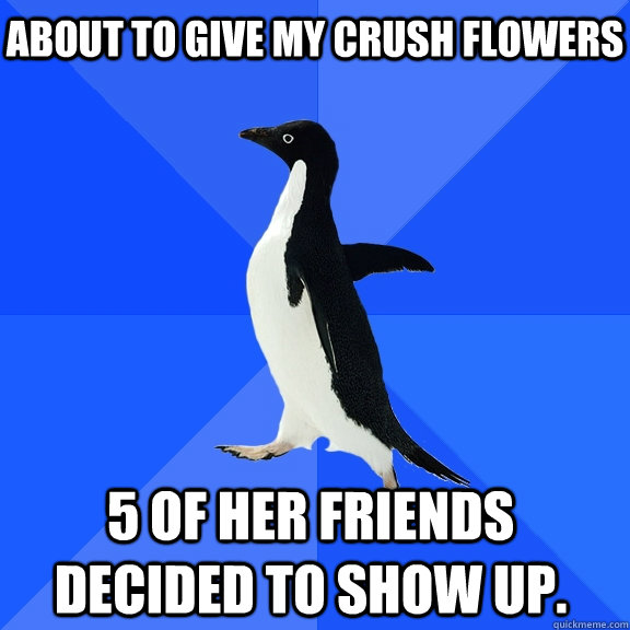 About to give my crush flowers 5 of her friends decided to show up. - About to give my crush flowers 5 of her friends decided to show up.  Socially Awkward Penguin