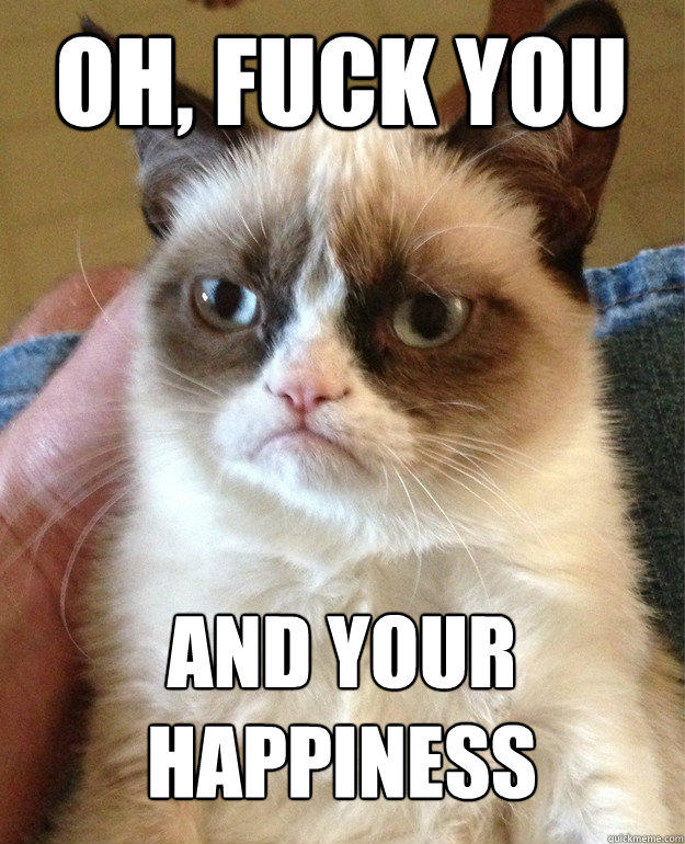 oh, fuck you and your happiness - oh, fuck you and your happiness  Grumpy Cat