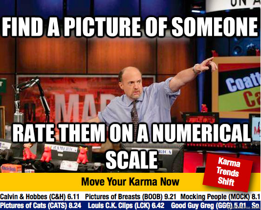 FInd a picture of someone Rate them on a numerical scale - FInd a picture of someone Rate them on a numerical scale  Mad Karma with Jim Cramer