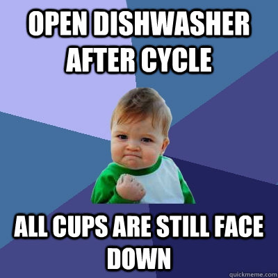 open dishwasher after cycle all cups are still face down - open dishwasher after cycle all cups are still face down  Misc