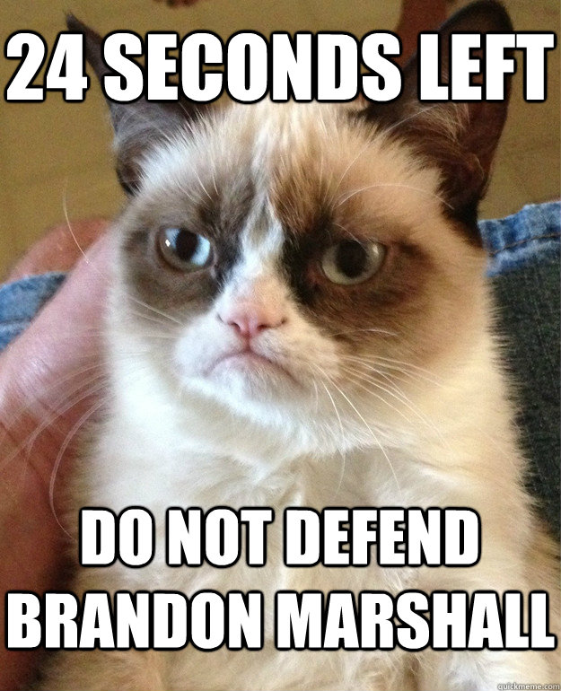 24 seconds left Do not defend Brandon Marshall - 24 seconds left Do not defend Brandon Marshall  Grumpy Cat