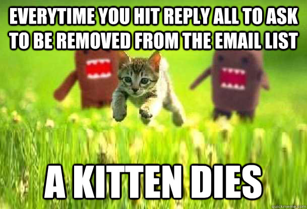 Everytime you hit Reply All to ask to be removed from the email list  A kitten dies  Reply All