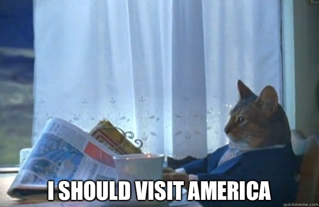 I should visit america -  I should visit america  Sophisticated Cat