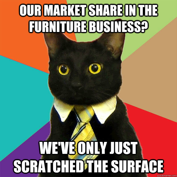 our market share in the furniture business?  we've only just        scratched the surface  - our market share in the furniture business?  we've only just        scratched the surface   Business Cat