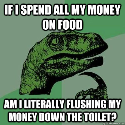 If i spend all my money on food Am I literally flushing my money down the toilet? - If i spend all my money on food Am I literally flushing my money down the toilet?  Philosiraptor