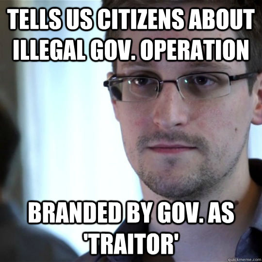 Tells US citizens about illegal Gov. operation Branded by Gov. as 'Traitor'