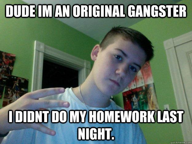 dude im an original gangster i didnt do my homework last night. - dude im an original gangster i didnt do my homework last night.  Misc