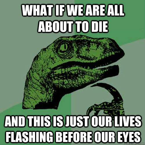 What if we are all about to die and this is just our lives flashing before our eyes - What if we are all about to die and this is just our lives flashing before our eyes  Philosoraptor