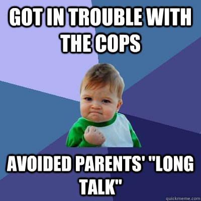 Got in Trouble with the cops Avoided Parents'