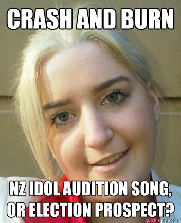 Crash and burn NZ idol audition song, or election prospect?  Liz Shaw