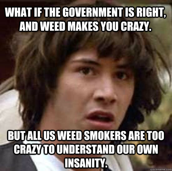 What if the government is right, and weed makes you crazy. but all us weed smokers are too crazy to understand our own insanity. - f9dbf8d1694d52a298c3fb83712a33c89ac0350b3cfa9f958a91cf7778267db4