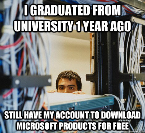 i graduated from university 1 year ago still have my account to download microsoft products for free