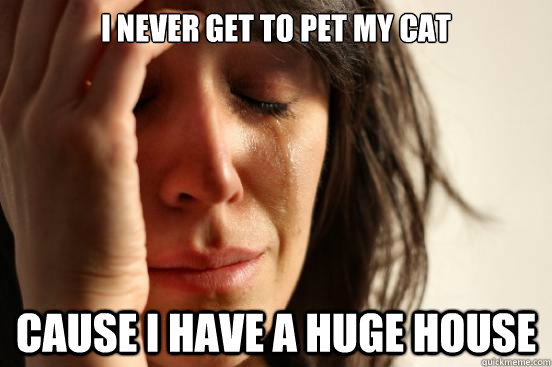 I never get to pet my cat cause i have a huge house - I never get to pet my cat cause i have a huge house  First World Problems