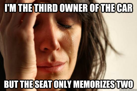I'M THE THIRD OWNER OF THE CAR BUT THE SEAT ONLY MEMORIZES TWO - I'M THE THIRD OWNER OF THE CAR BUT THE SEAT ONLY MEMORIZES TWO  First World Problems