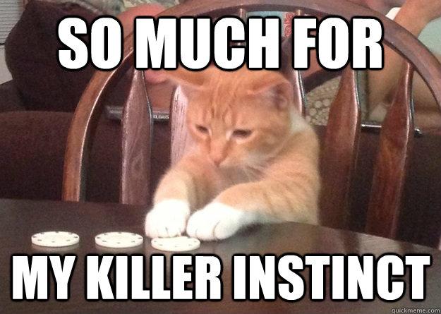fa0a7fa6895815273ba6b2e2f6b3bcd184fe6abfd8c31967e8a57e6ccdcf429b so much for my killer instinct regret cat quickmeme
