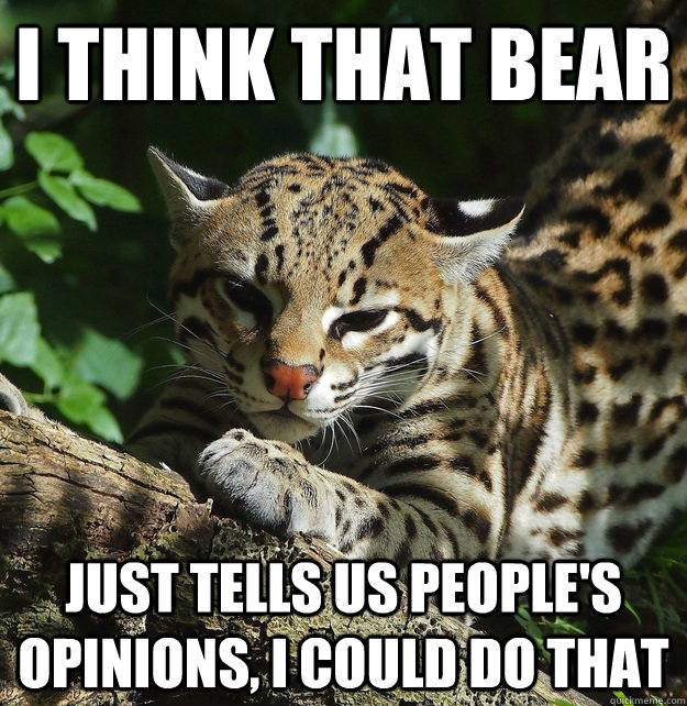 I think that bear Just tells us people's opinions, I could do that - I think that bear Just tells us people's opinions, I could do that  Opinion Ocelot