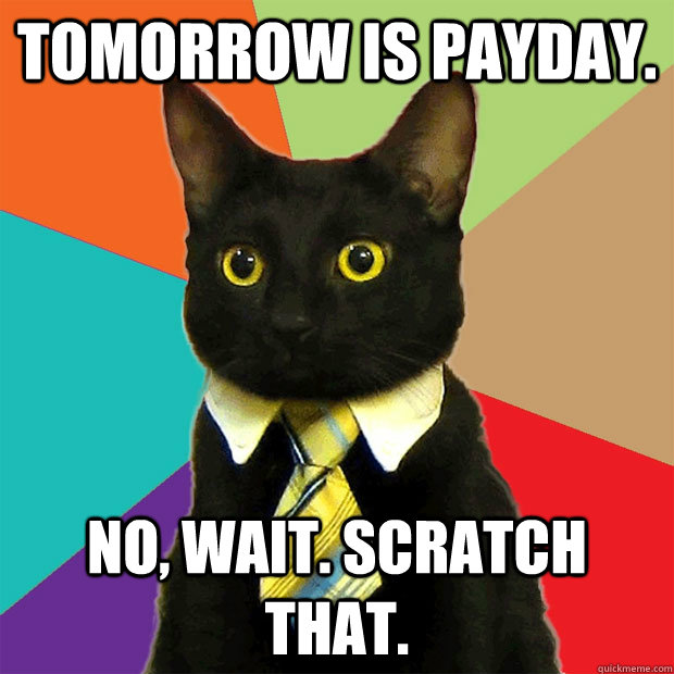 Tomorrow is payday. No, wait. Scratch that. - Tomorrow is payday. No, wait. Scratch that.  Business Cat