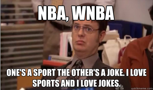Nba, Wnba One's a sport the other's a joke. I love sports and I love jokes.