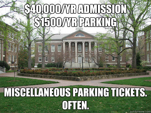 $40,000/yr admission $1500/yr parking Miscellaneous Parking tickets. Often. - $40,000/yr admission $1500/yr parking Miscellaneous Parking tickets. Often.  Scumbag University