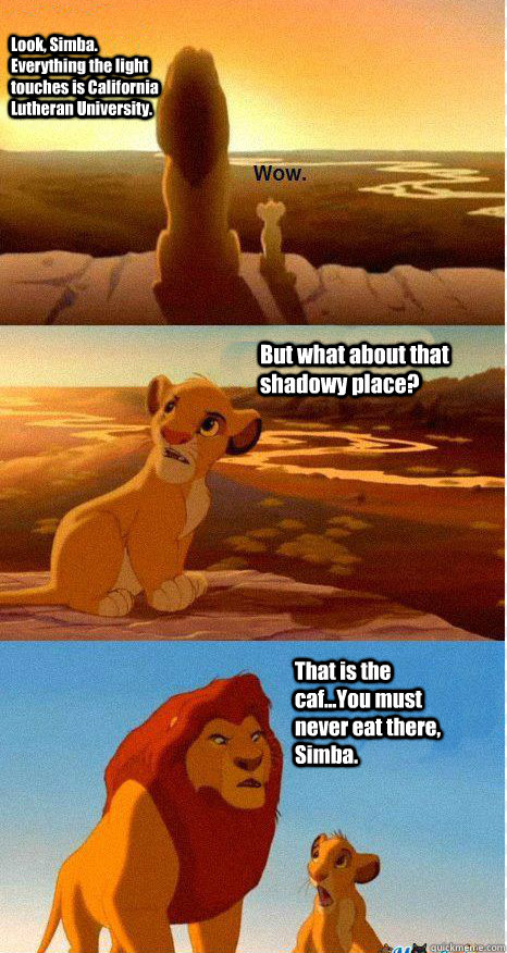 Look, Simba. Everything the light touches is California Lutheran University. But what about that shadowy place? That is the caf...You must never eat there, Simba.