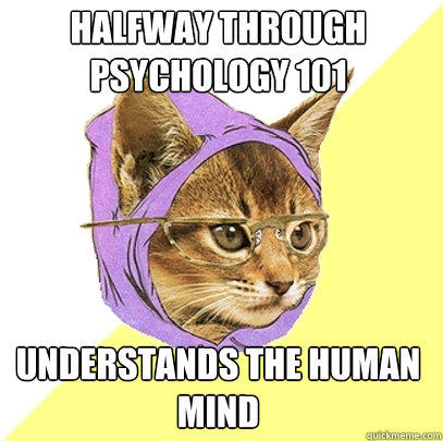 Halfway through Psychology 101 Understands the human mind - Halfway through Psychology 101 Understands the human mind  Hipster Kitty
