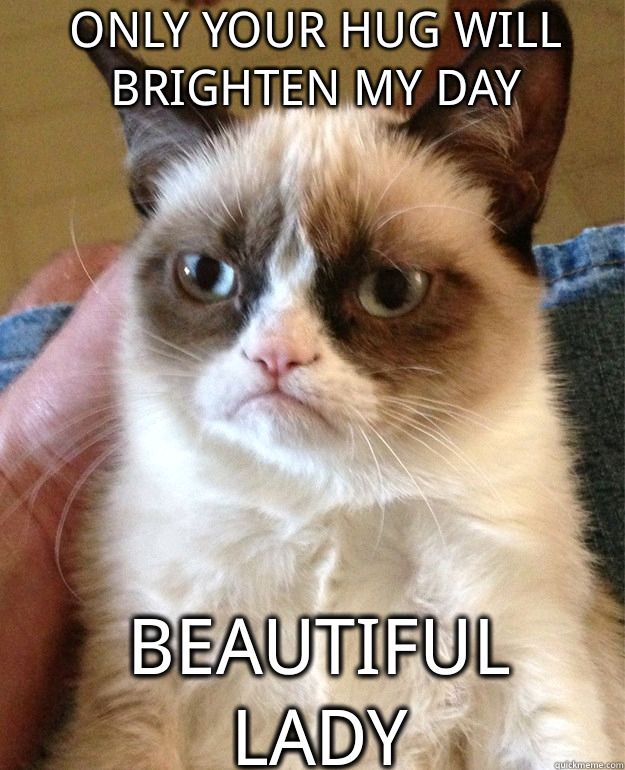 Only Your Hug Will Brighten My Day Beautiful Lady Grumpy Cat