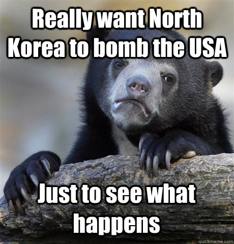Really want North Korea to bomb the USA Just to see what happens - Really want North Korea to bomb the USA Just to see what happens  Confession Bear