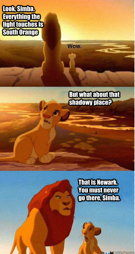 Look, Simba. Everything the light touches is South Orange But what about that shadowy place? That is Newark. You must never go there, Simba.