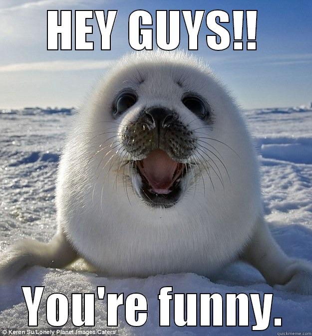 HEY GUYS!! YOU'RE FUNNY. Easily Pleased Seal