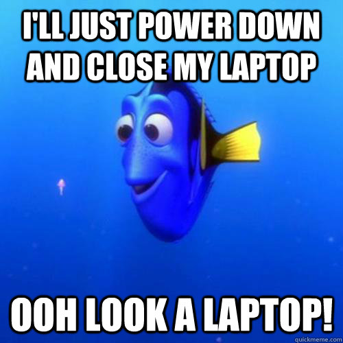 I'll Just power down and close my laptop ooh look a laptop! - I'll Just power down and close my laptop ooh look a laptop!  dory
