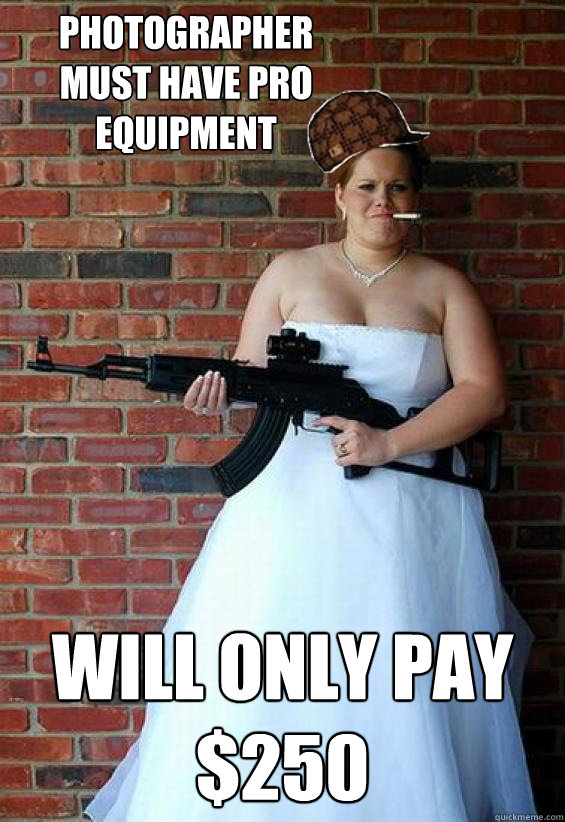Photographer must have pro equipment will only pay $250