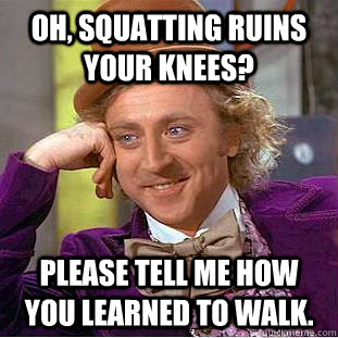 Oh, squatting ruins your knees? Please tell me how you learned to walk. - Oh, squatting ruins your knees? Please tell me how you learned to walk.  Creepy Wonka