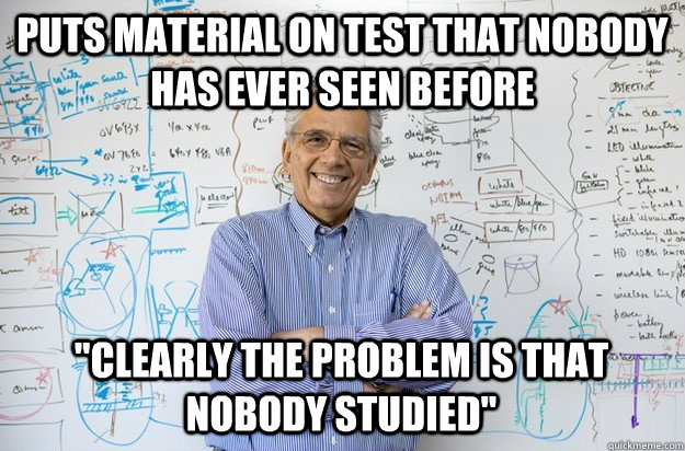 Puts material on test that nobody has ever seen before