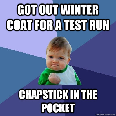 Got out winter coat for a test run Chapstick in the pocket - Got out winter coat for a test run Chapstick in the pocket  Success Kid