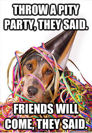 Throw a pity party, they said. Friends will come, they said.  Pity Party Dog