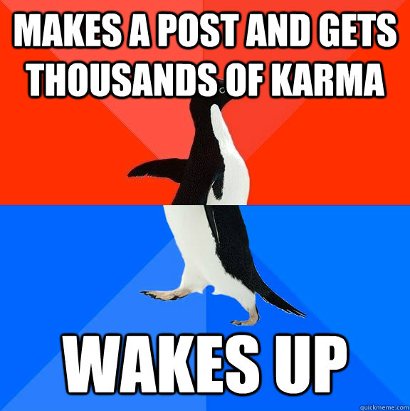 makes a post and gets thousands of karma wakes up - makes a post and gets thousands of karma wakes up  Socially Awesome Awkward Penguin