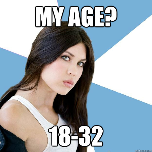 My age? 18-32  Annoying IMDB Actress