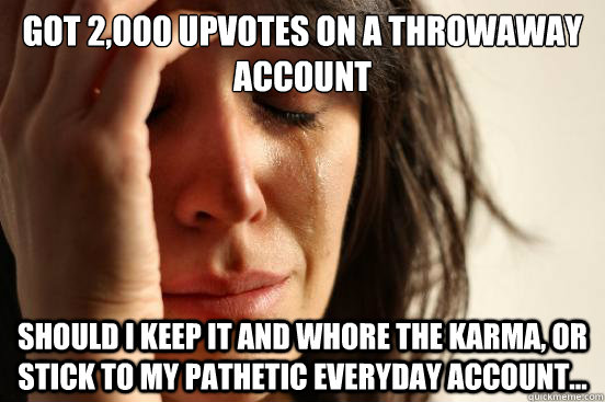 got 2,000 upvotes on a throwaway account Should i keep it and whore the karma, or stick to my pathetic everyday account...  First World Problems