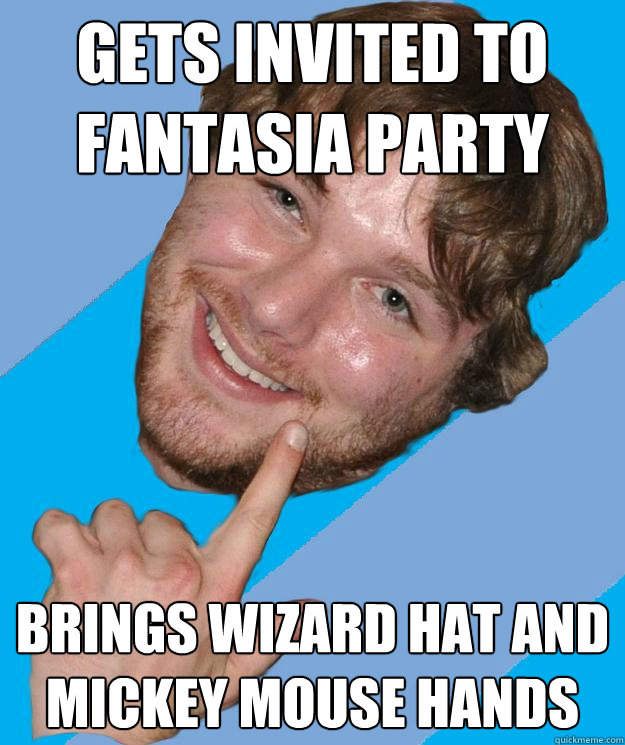 gets invited to fantasia party brings wizard hat and mickey mouse hands