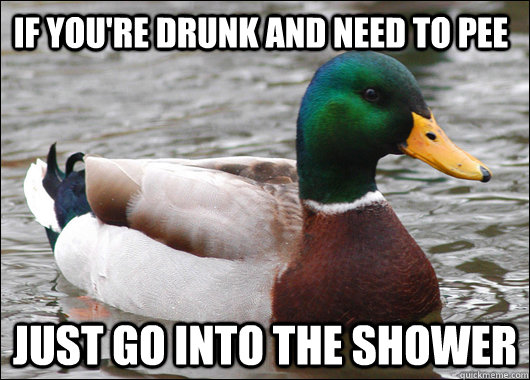If you're drunk and need to pee just go into the shower - If you're drunk and need to pee just go into the shower  Actual Advice Mallard
