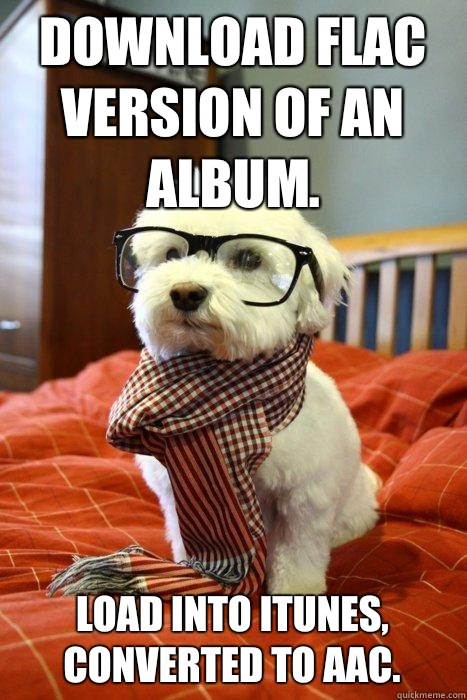 Download FLAC version of an album.  Load into iTunes, converted to AAC.   Hipster Dog