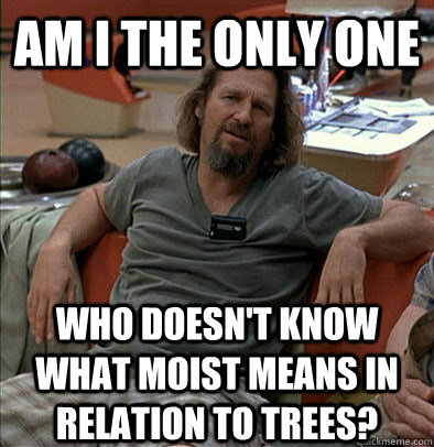 Am I the only one Who doesn't know what moist means in relation to trees? - Am I the only one Who doesn't know what moist means in relation to trees?  The Dude
