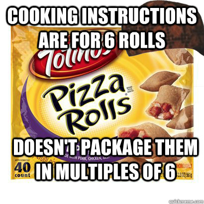 Cooking instructions are for 6 rolls  Doesn't package them in multiples of 6 - Cooking instructions are for 6 rolls  Doesn't package them in multiples of 6  Misc