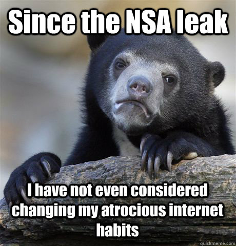 Since the NSA leak I have not even considered changing my atrocious internet habits - Since the NSA leak I have not even considered changing my atrocious internet habits  Confession Bear