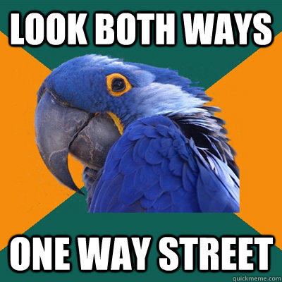 Look both ways one way street - Look both ways one way street  Paranoid Parrot