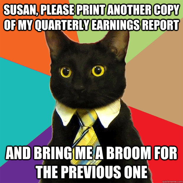 Susan, please print another copy of my quarterly earnings report and bring me a broom for the previous one - Susan, please print another copy of my quarterly earnings report and bring me a broom for the previous one  Business Cat